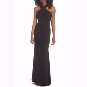 Eliza J Long Black Evening Gown Sz 6, halter neck